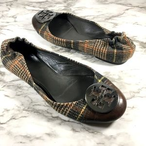 Tory Burch Plaid Serena Round Toe Slip On Flats